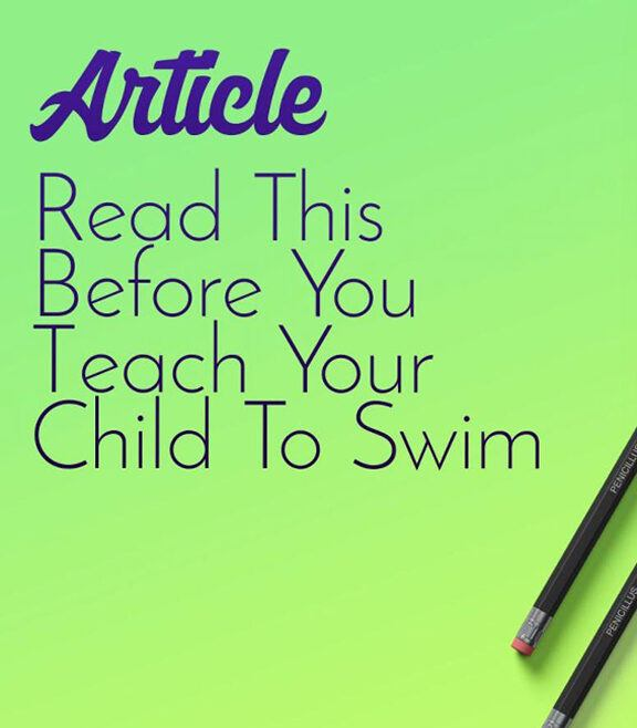 """Cover image with text """"REad This Before You Teach Your Child to Swim"""""""